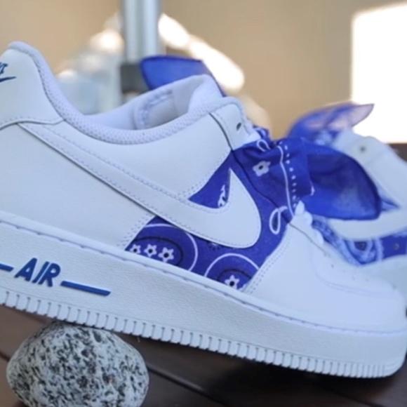 nike air force 1 blue bandana